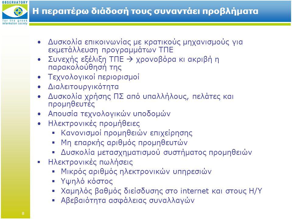 Η περαιτέρω διάδοσή τους συναντάει προβλήματα •Δυσκολία επικοινωνίας με κρατικούς μηχανισμούς για εκμετάλλευση προγραμμάτων ΤΠΕ •Συνεχής εξέλιξη ΤΠΕ  χρονοβόρα κι ακριβή η παρακολούθησή της •Τεχνολογικοί περιορισμοί •Διαλειτουργικότητα •Δυσκολία χρήσης ΠΣ από υπαλλήλους, πελάτες και προμηθευτές •Απουσία τεχνολογικών υποδομών •Ηλεκτρονικές προμήθειες  Κανονισμοί προμηθειών επιχείρησης  Μη επαρκής αριθμός προμηθευτών  Δυσκολία μετασχηματισμού συστήματος προμηθειών  Ηλεκτρονικές πωλήσεις  Μικρός αριθμός ηλεκτρονικών υπηρεσιών  Υψηλό κόστος  Χαμηλός βαθμός διείσδυσης στο internet και στους Η/Υ  Αβεβαιότητα ασφάλειας συναλλαγών 8