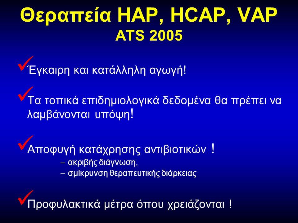 Θεραπεία ΗΑP, HCAP, VAP ATS 2005  Έγκαιρη και κατάλληλη αγωγή.