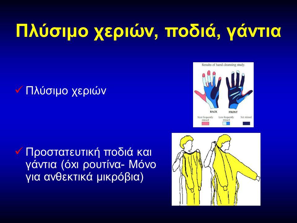 Πλύσιμο χεριών, ποδιά, γάντια   Πλύσιμο χεριών   Προστατευτική ποδιά και γάντια (όxι ρουτίνα- Μόνο για ανθεκτικά μικρόβια)