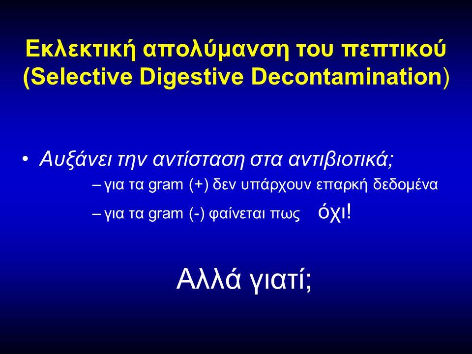 •Αυξάνει την αντίσταση στα αντιβιοτικά; –για τα gram (+) δεν υπάρχουν επαρκή δεδομένα –για τα gram (-) φαίνεται πως όχι.