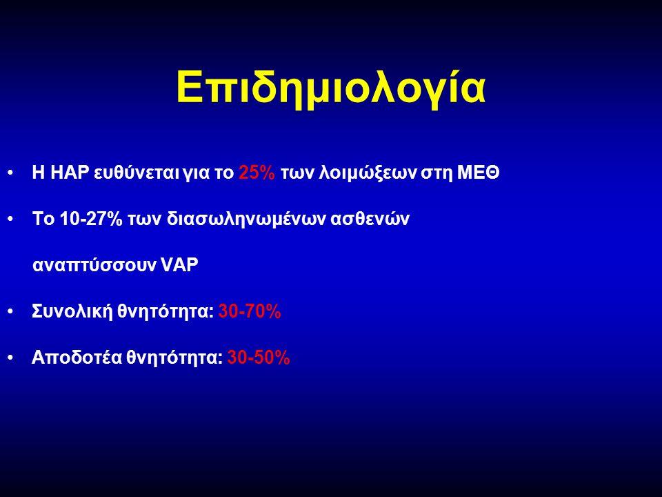 Επιδημιολογία •Η ΗΑP ευθύνεται για το 25% των λοιμώξεων στη ΜΕΘ •Το 10-27% των διασωληνωμένων ασθενών αναπτύσσουν VAP •Συνολική θνητότητα: 30-70% •Αποδοτέα θνητότητα: 30-50%