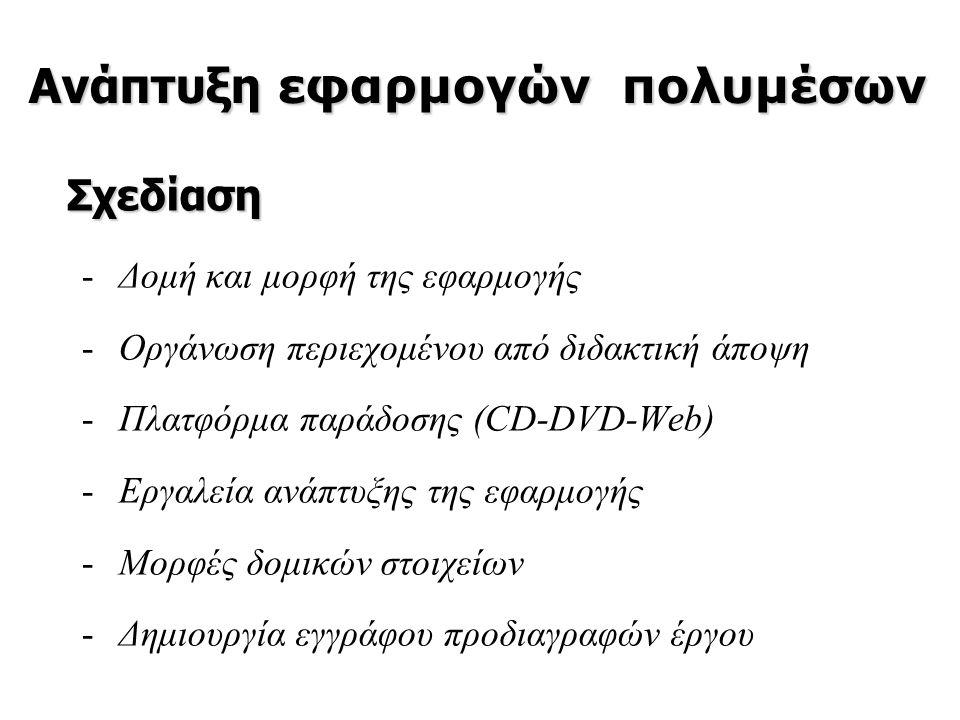 -Δομή και μορφή της εφαρμογής -Οργάνωση περιεχομένου από διδακτική άποψη -Πλατφόρμα παράδοσης (CD-DVD-Web) -Εργαλεία ανάπτυξης της εφαρμογής -Μορφές δ