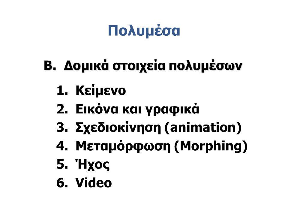 Πολυμέσα 1.Κείμενο 2.Εικόνα και γραφικά 3.Σχεδιοκίνηση (animation) 4.Μεταμόρφωση (Morphing) 5.Ήχος 6.Video B. Δομικά στοιχεία πολυμέσων