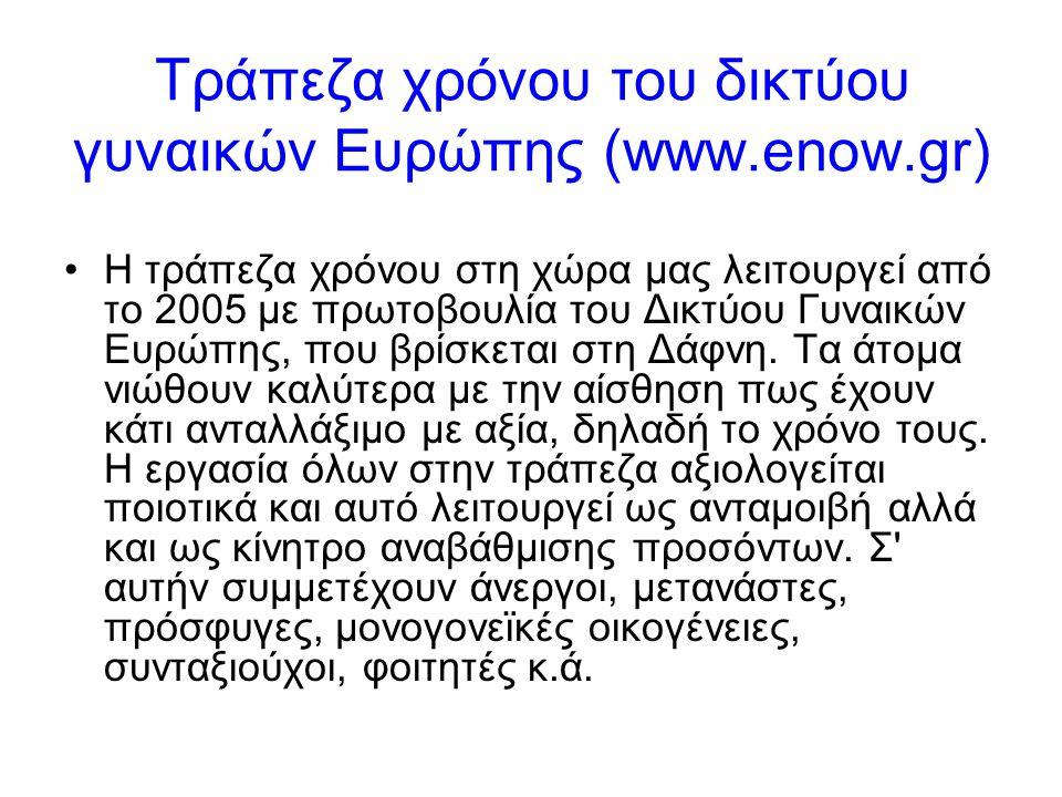 Τράπεζα χρόνου του δικτύου γυναικών Ευρώπης (www.enow.gr) •Η τράπεζα χρόνου στη χώρα μας λειτουργεί από το 2005 με πρωτοβουλία του Δικτύου Γυναικών Ευρώπης, που βρίσκεται στη Δάφνη.