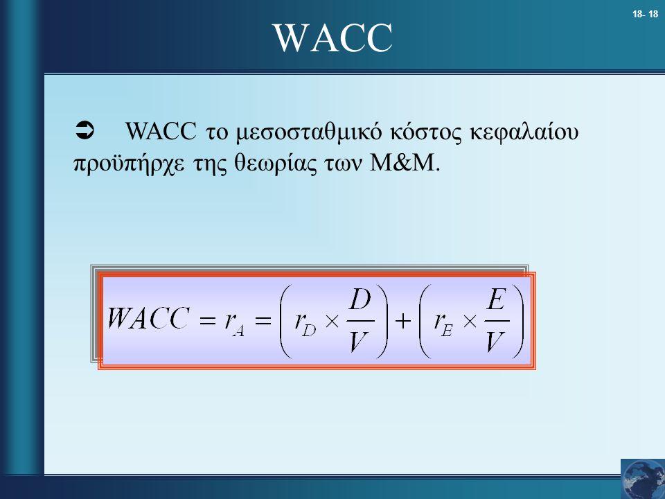 18- 18 WACC  WACC το μεσοσταθμικό κόστος κεφαλαίου προϋπήρχε της θεωρίας των Μ&Μ.