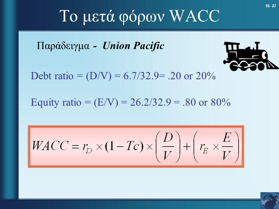 18- 27 Το μετά φόρων WACC Παράδειγμα - Union Pacific Debt ratio = (D/V) = 6.7/32.9=.20 or 20% Equity ratio = (E/V) = 26.2/32.9 =.80 or 80%