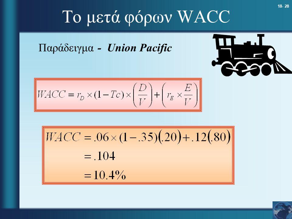18- 28 Το μετά φόρων WACC Παράδειγμα - Union Pacific
