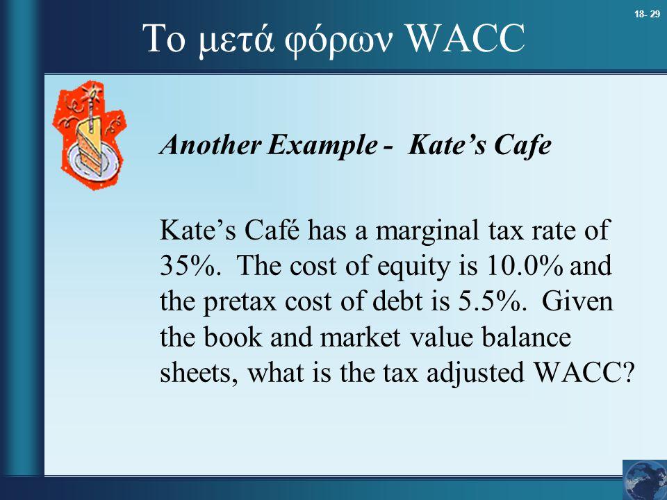 18- 29 Το μετά φόρων WACC Another Example - Kate's Cafe Kate's Café has a marginal tax rate of 35%. The cost of equity is 10.0% and the pretax cost of