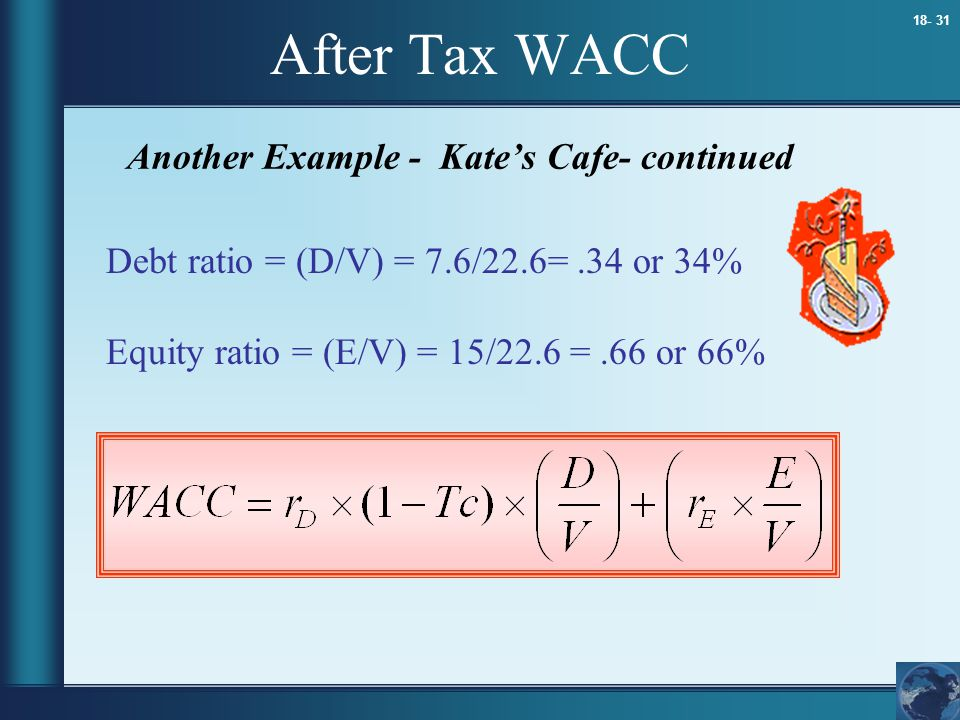 18- 31 After Tax WACC Another Example - Kate's Cafe- continued Debt ratio = (D/V) = 7.6/22.6=.34 or 34% Equity ratio = (E/V) = 15/22.6 =.66 or 66%