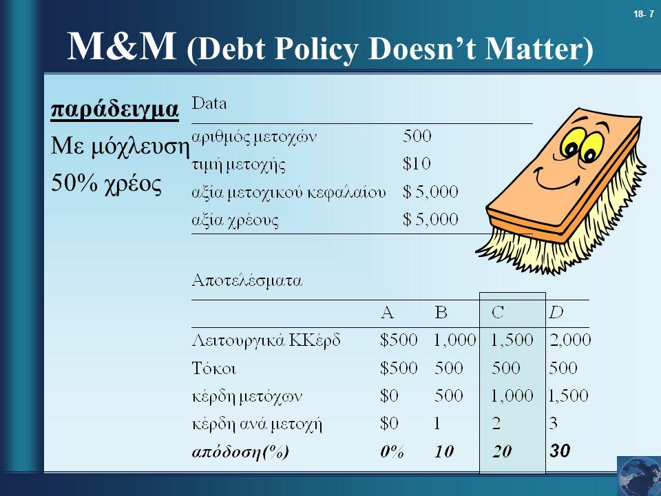18- 7 παράδειγμα Με μόχλευση 50% χρέος M&M (Debt Policy Doesn't Matter)
