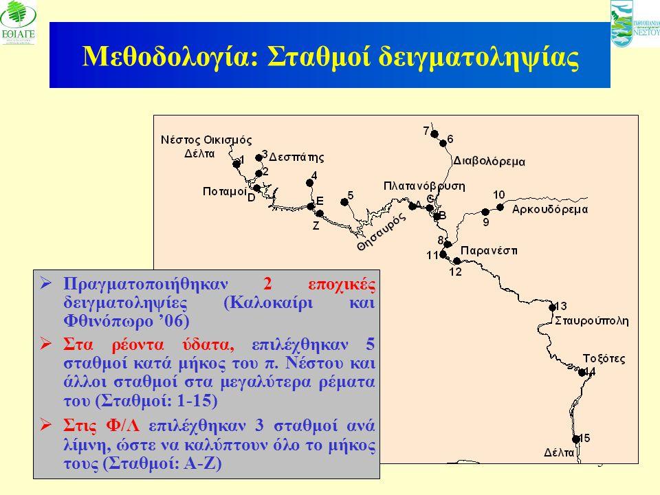 3 Μεθοδολογία: Σταθμοί δειγματοληψίας  Πραγματοποιήθηκαν 2 εποχικές δειγματοληψίες (Καλοκαίρι και Φθινόπωρο '06)  Στα ρέοντα ύδατα, επιλέχθηκαν 5 στ