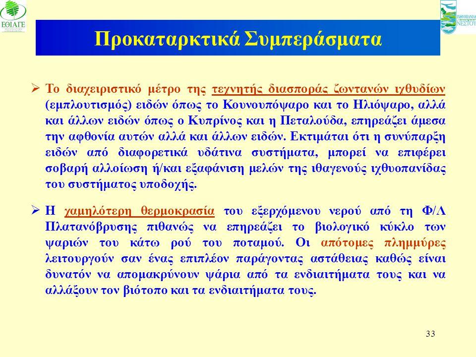 33 Προκαταρκτικά Συμπεράσματα  Το διαχειριστικό μέτρο της τεχνητής διασποράς ζωντανών ιχθυδίων (εμπλουτισμός) ειδών όπως το Κουνουπόψαρο και το Ηλιόψ