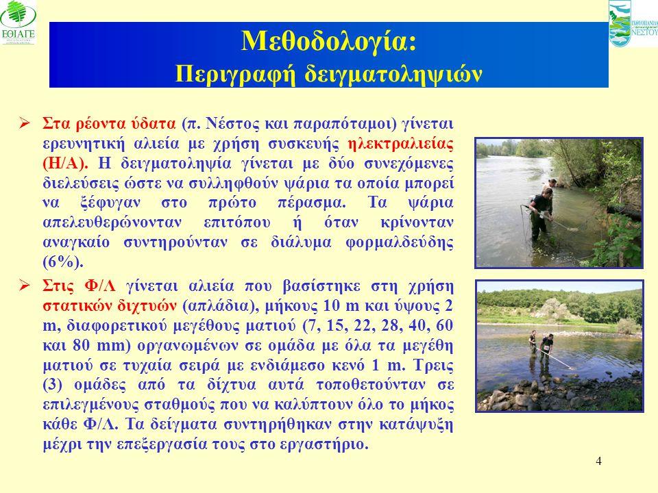 4 Μεθοδολογία: Περιγραφή δειγματοληψιών  Στα ρέοντα ύδατα (π. Νέστος και παραπόταμοι) γίνεται ερευνητική αλιεία με χρήση συσκευής ηλεκτραλιείας (Η/Α)