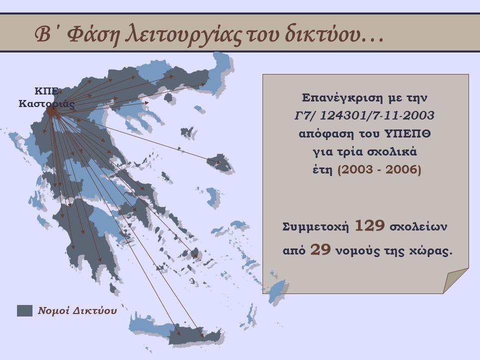 Β΄ Φάση λειτουργίας του δικτύου… Επανέγκριση με την Γ7/ 124301/7-11-2003 απόφαση του ΥΠΕΠΘ για τρία σχολικά έτη (2003 - 2006) ΚΠΕ Καστοριάς Νομοί Δικτ