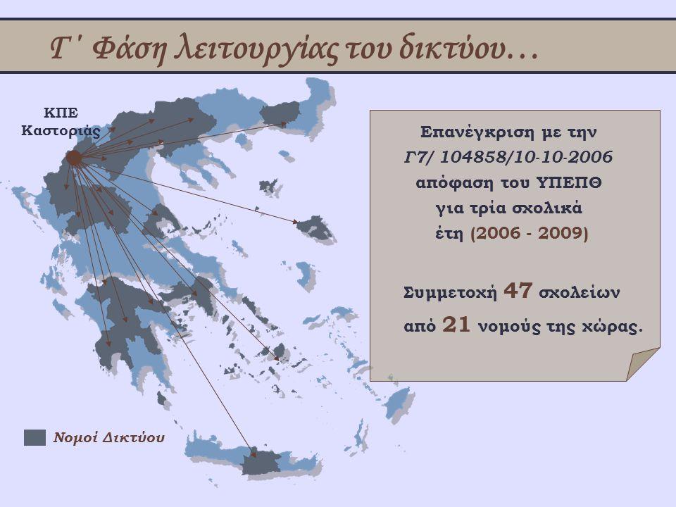 Γ΄ Φάση λειτουργίας του δικτύου… Επανέγκριση με την Γ7/ 104858/10-10-2006 απόφαση του ΥΠΕΠΘ για τρία σχολικά έτη (2006 - 2009) ΚΠΕ Καστοριάς Νομοί Δικ