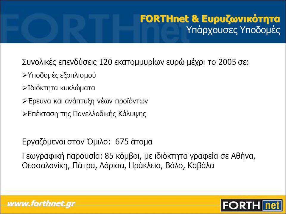 FORTHnet & Ευρυζωνικότητα FORTHnet & Ευρυζωνικότητα Υπάρχουσες Υποδομές www.forthnet.gr Συνολικές επενδύσεις 120 εκατομμυρίων ευρώ μέχρι το 2005 σε:  Υποδομές εξοπλισμού  Ιδιόκτητα κυκλώματα  Έρευνα και ανάπτυξη νέων προϊόντων  Επέκταση της Πανελλαδικής Κάλυψης Εργαζόμενοι στον Όμιλο: 675 άτομα Γεωγραφική παρουσία: 85 κόμβοι, με ιδιόκτητα γραφεία σε Αθήνα, Θεσσαλονίκη, Πάτρα, Λάρισα, Ηράκλειο, Βόλο, Καβάλα