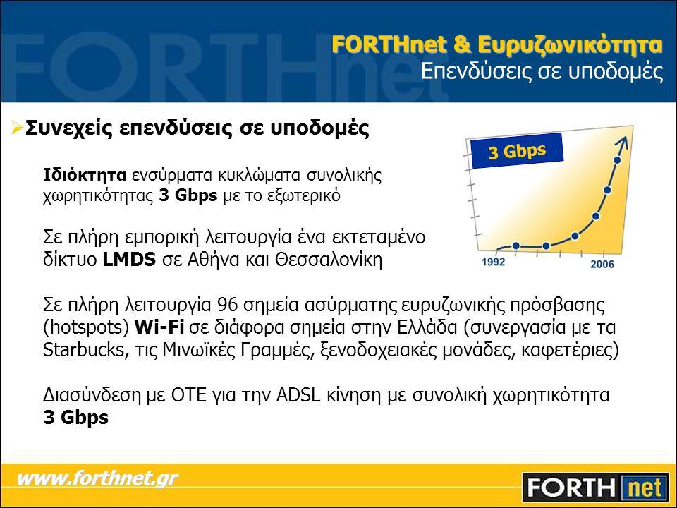 FORTHnet & Ευρυζωνικότητα FORTHnet & Ευρυζωνικότητα Επενδύσεις σε υποδομές  Συνεχείς επενδύσεις σε υποδομές Ιδιόκτητα ενσύρματα κυκλώματα συνολικής χωρητικότητας 3 Gbps με το εξωτερικό Σε πλήρη εμπορική λειτουργία ένα εκτεταμένο δίκτυο LMDS σε Αθήνα και Θεσσαλονίκη Σε πλήρη λειτουργία 96 σημεία ασύρματης ευρυζωνικής πρόσβασης (hotspots) Wi-Fi σε διάφορα σημεία στην Ελλάδα (συνεργασία με τα Starbucks, τις Μινωϊκές Γραμμές, ξενοδοχειακές μονάδες, καφετέριες) Διασύνδεση με ΟΤΕ για την ADSL κίνηση με συνολική χωρητικότητα 3 Gbps www.forthnet.gr