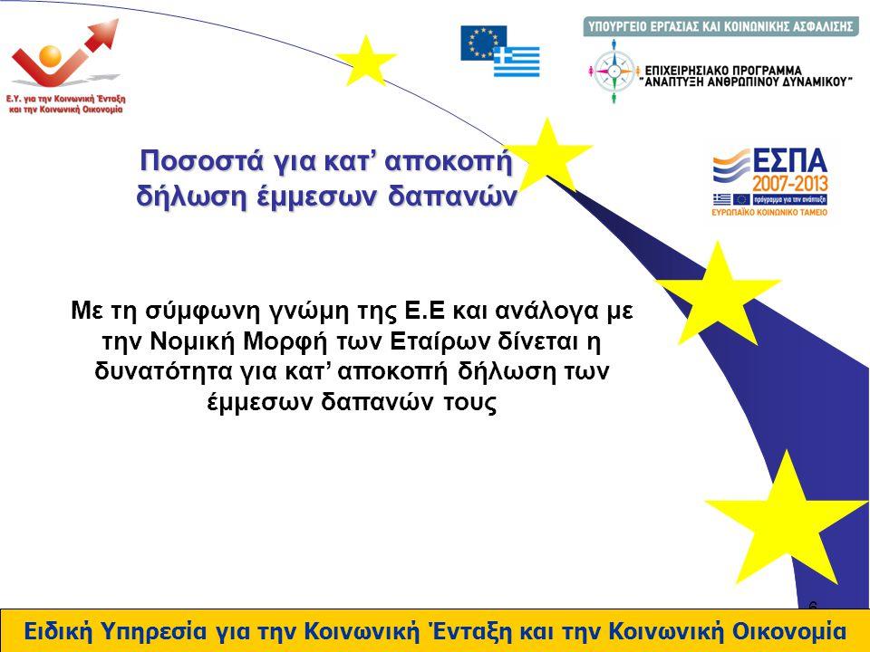 6 Ποσοστά για κατ' αποκοπή δήλωση έμμεσων δαπανών Με τη σύμφωνη γνώμη της Ε.Ε και ανάλογα με την Νομική Μορφή των Εταίρων δίνεται η δυνατότητα για κατ' αποκοπή δήλωση των έμμεσων δαπανών τους Ειδική Υπηρεσία για την Κοινωνική Ένταξη και την Κοινωνική Οικονομία
