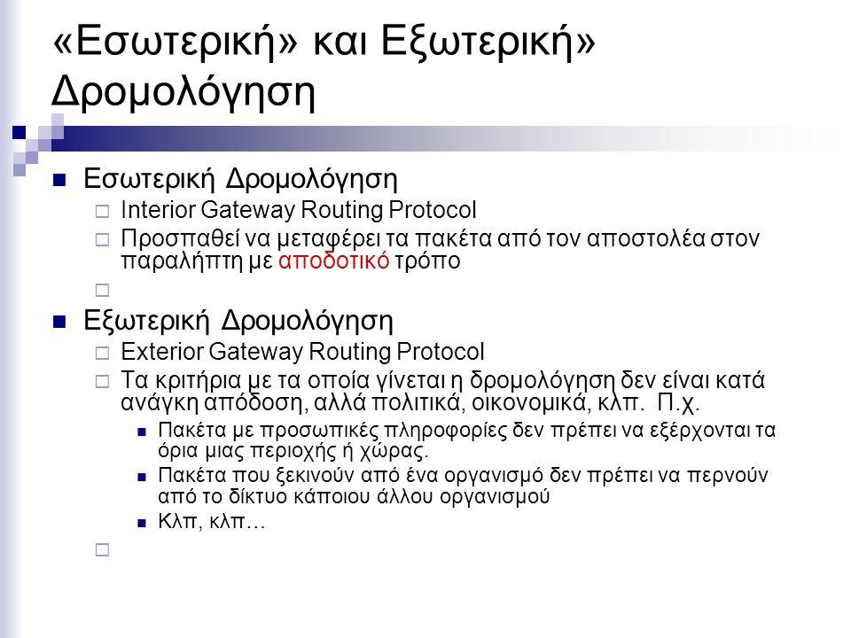 «Εσωτερική» και Εξωτερική» Δρομολόγηση  Εσωτερική Δρομολόγηση  Interior Gateway Routing Protocol  Προσπαθεί να μεταφέρει τα πακέτα από τον αποστολέ