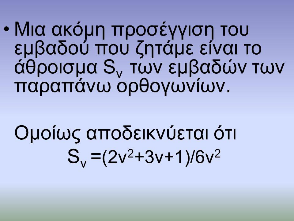•Μια ακόμη προσέγγιση του εμβαδού που ζητάμε είναι το άθροισμα S ν των εμβαδών των παραπάνω ορθογωνίων.