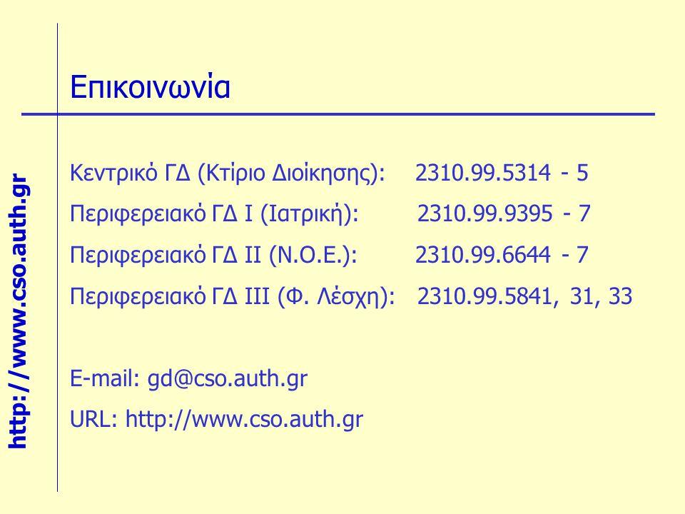 Επικοινωνία Κεντρικό ΓΔ (Κτίριο Διοίκησης): 2310.99.5314 - 5 Περιφερειακό ΓΔ Ι (Ιατρική): 2310.99.9395 - 7 Περιφερειακό ΓΔ ΙΙ (Ν.Ο.Ε.): 2310.99.6644 -