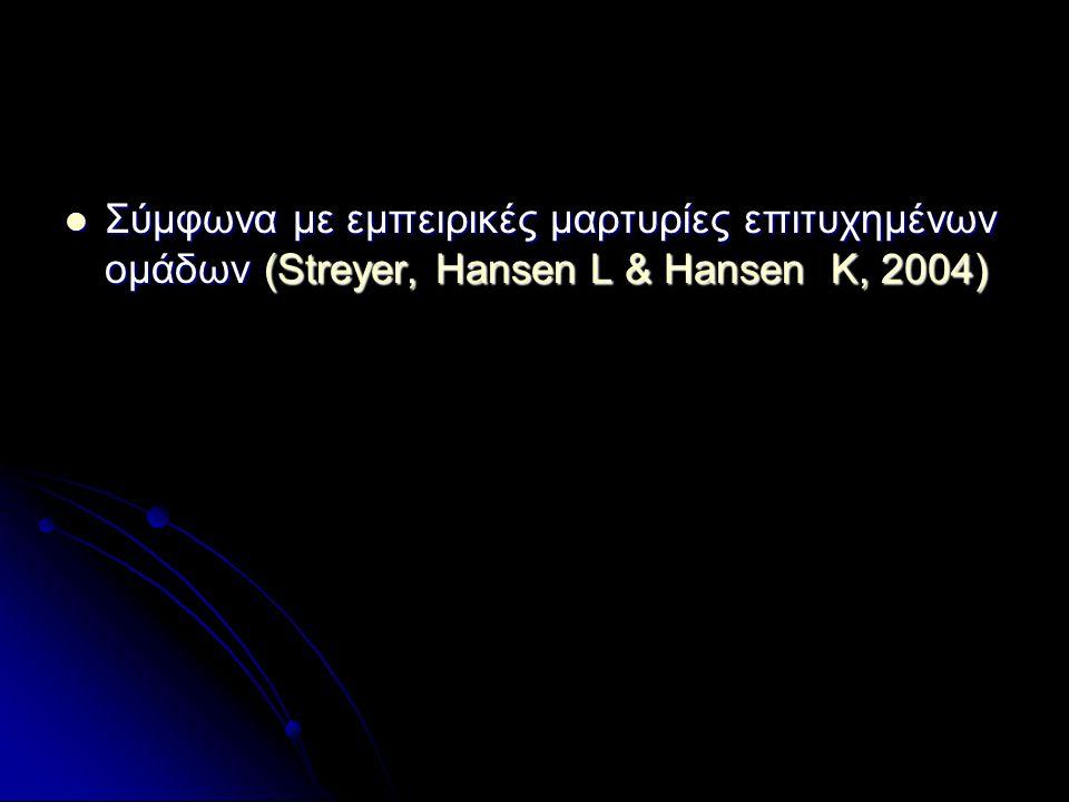  Σύμφωνα με εμπειρικές μαρτυρίες επιτυχημένων ομάδων (Streyer, Hansen L & Hansen K, 2004)