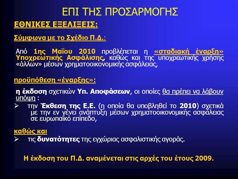 ΕΠΙ ΤΗΣ ΠΡΟΣΑΡΜΟΓΗΣ ΕΘΝΙΚΕΣ ΕΞΕΛΙΞΕΙΣ: Σύμφωνα με το Σχέδιο Π.Δ.: Από 1ης Μαΐου 2010 προβλέπεται η «σταδιακή έναρξη» Υποχρεωτικής Ασφάλισης, καθώς και της υποχρεωτικής χρήσης «άλλων» μέσων χρηματοοικονομικής ασφάλειας, προϋπόθεση «έναρξης»: η έκδοση σχετικών Υπ.