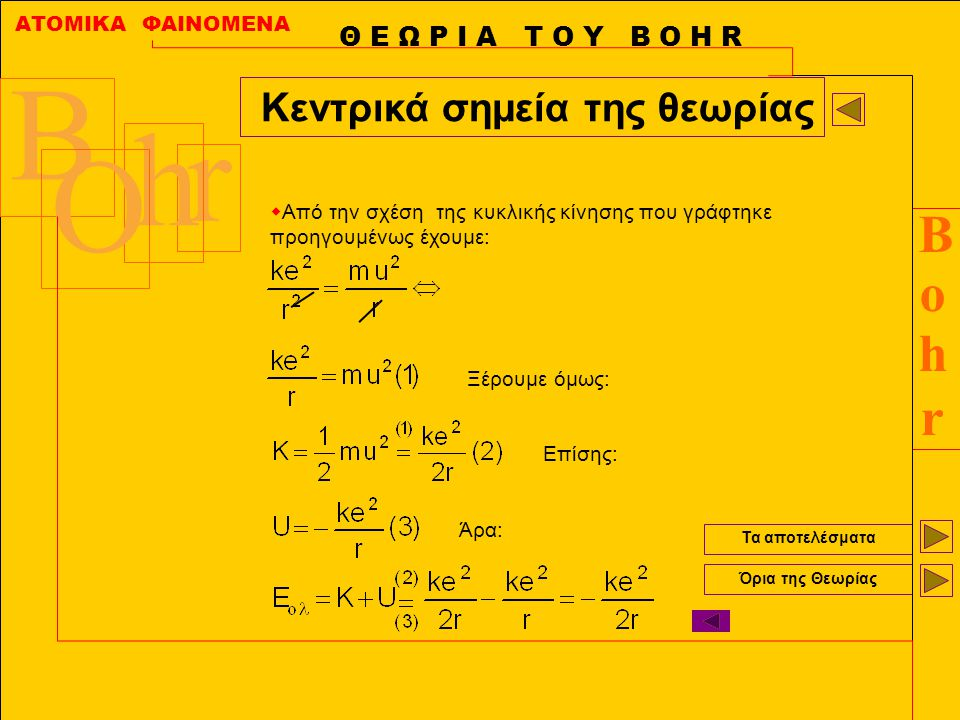 ΑΤΟΜΙΚΑ ΦΑΙΝΟΜΕΝΑ BohrBohr B r h O Τα αποτελέσματα Όρια της Θεωρίας Θ Ε Ω Ρ Ι Α Τ Ο Υ Β Ο Η R Κεντρικά σημεία της θεωρίας  Συνθήκη ακτινοβολίας :Το άτομο ακτινοβολεί όταν το ηλεκτρόνιο μεταπηδά από στιβάδα με μεγάλη ενέργεια σε στιβάδα με μικρότερη.
