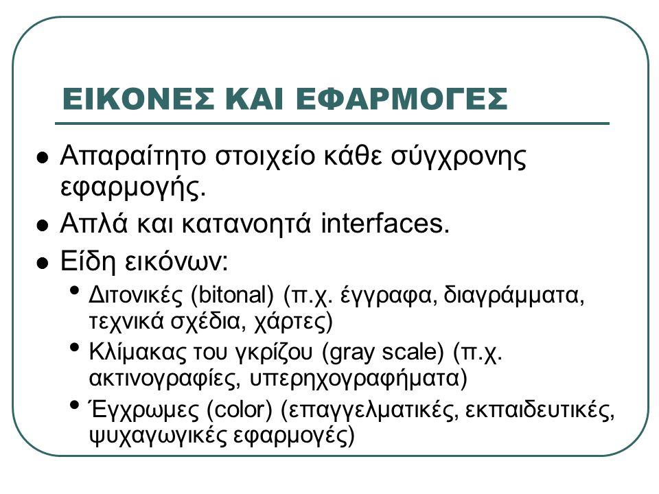 ΕΙΚΟΝΕΣ ΚΑΙ ΕΦΑΡΜΟΓΕΣ  Απαραίτητο στοιχείο κάθε σύγχρονης εφαρμογής.  Απλά και κατανοητά interfaces.  Είδη εικόνων: • Διτονικές (bitonal) (π.χ. έγγ