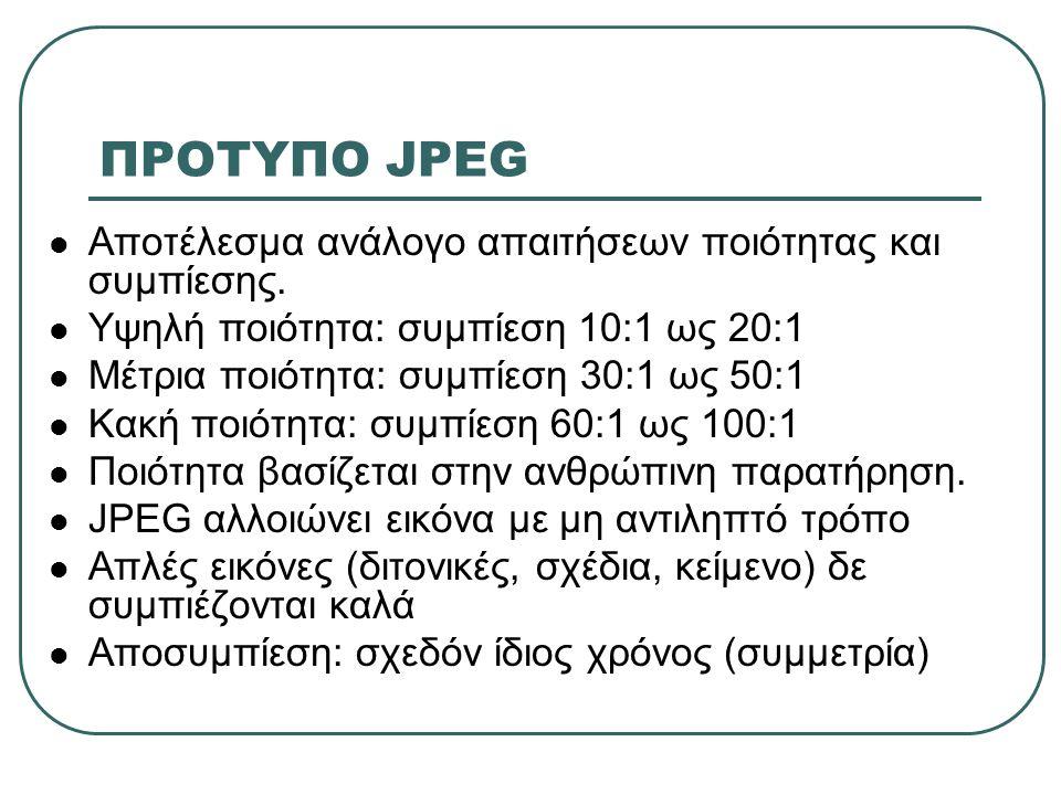 ΠΡΟΤΥΠΟ JPEG  Αποτέλεσμα ανάλογο απαιτήσεων ποιότητας και συμπίεσης.  Υψηλή ποιότητα: συμπίεση 10:1 ως 20:1  Μέτρια ποιότητα: συμπίεση 30:1 ως 50:1