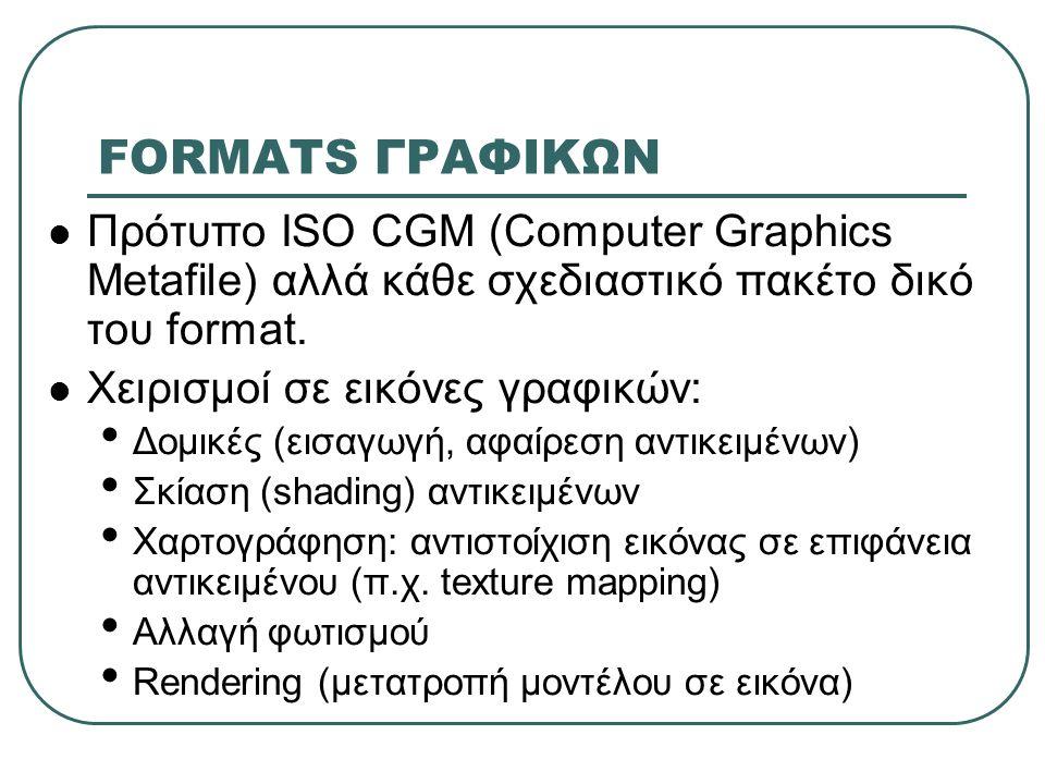 FORMATS ΓΡΑΦΙΚΩΝ  Πρότυπο ISO CGM (Computer Graphics Metafile) αλλά κάθε σχεδιαστικό πακέτο δικό του format.  Χειρισμοί σε εικόνες γραφικών: • Δομικ