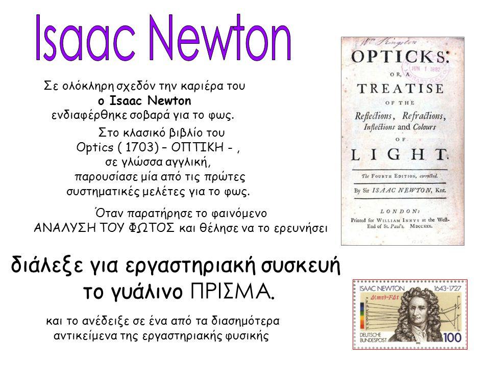 Σε ολόκληρη σχεδόν την καριέρα του ο Isaac Newton ενδιαφέρθηκε σοβαρά για το φως. Στο κλασικό βιβλίο του Optics ( 1703) – ΟΠΤΙΚΗ -, σε γλώσσα αγγλική,