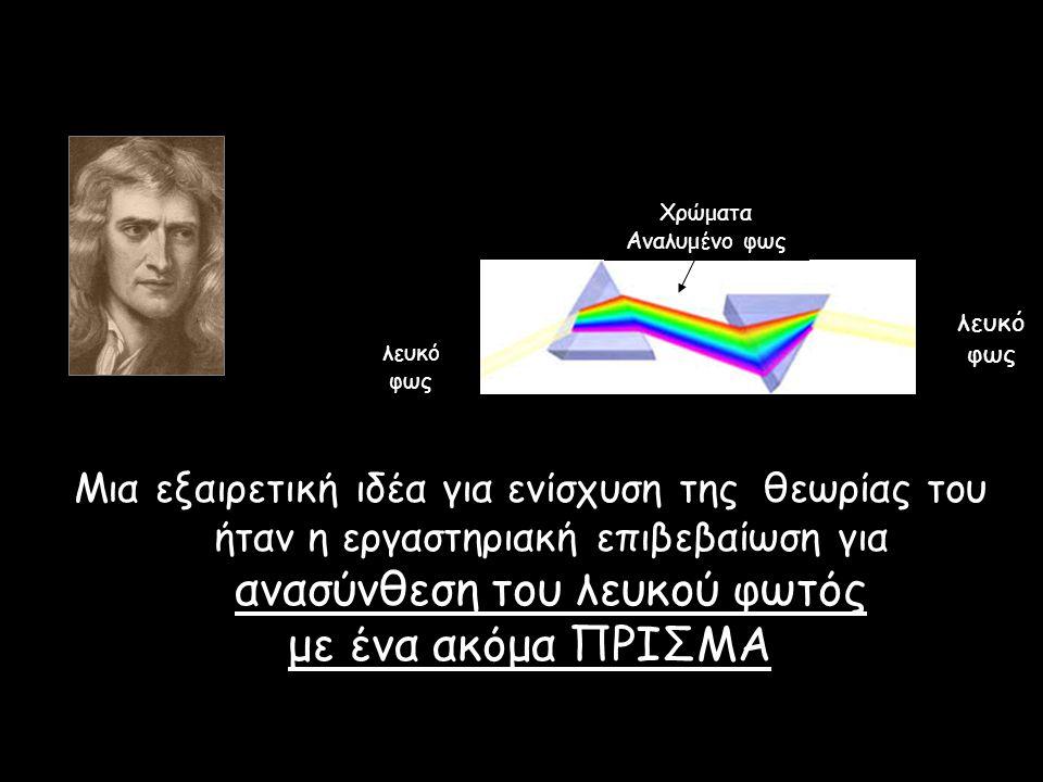 Μια εξαιρετική ιδέα για ενίσχυση της θεωρίας του ήταν η εργαστηριακή επιβεβαίωση για ανασύνθεση του λευκού φωτός με ένα ακόμα ΠΡΙΣΜΑ λευκό φως Χρώματα