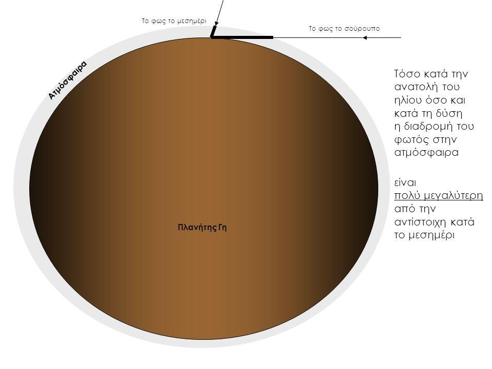 Τόσο κατά την ανατολή του ηλίου όσο και κατά τη δύση η διαδρομή του φωτός στην ατμόσφαιρα Το φως το σούρουπο Το φως το μεσημέρι είναι πολύ μεγαλύτερη