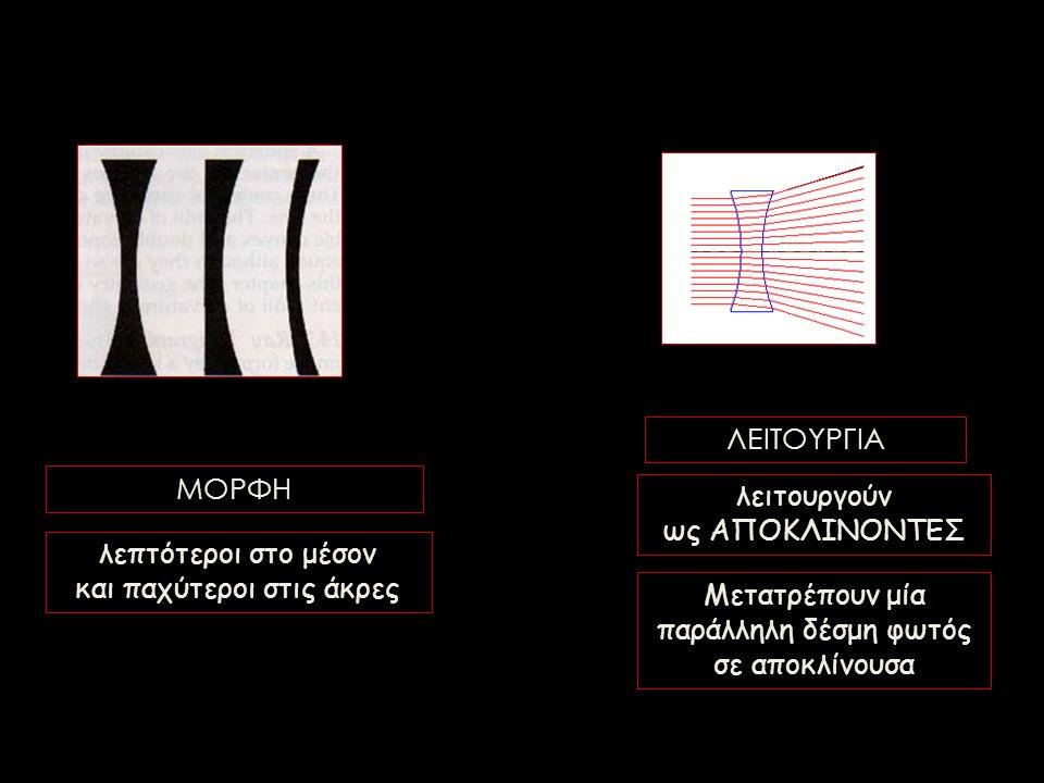 λεπτότεροι στο μέσον και παχύτεροι στις άκρες Μετατρέπουν μία παράλληλη δέσμη φωτός σε αποκλίνουσα ΜΟΡΦΗ ΛΕΙΤΟΥΡΓΙΑ λειτουργούν ως ΑΠΟΚΛΙΝΟΝΤΕΣ