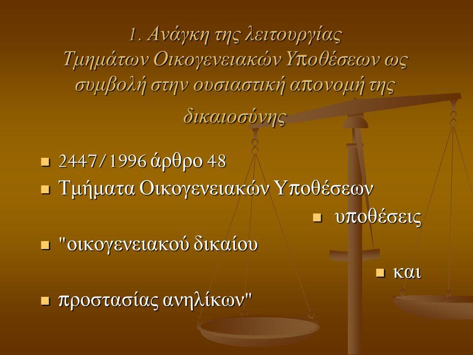 1. Ανάγκη της λειτουργίας Τμημάτων Οικογενειακών Υ π οθέσεων ως συμβολή στην ουσιαστική α π ονομή της δικαιοσύνης  2447/1996 άρθρο 48  Τμήματα Οικογ
