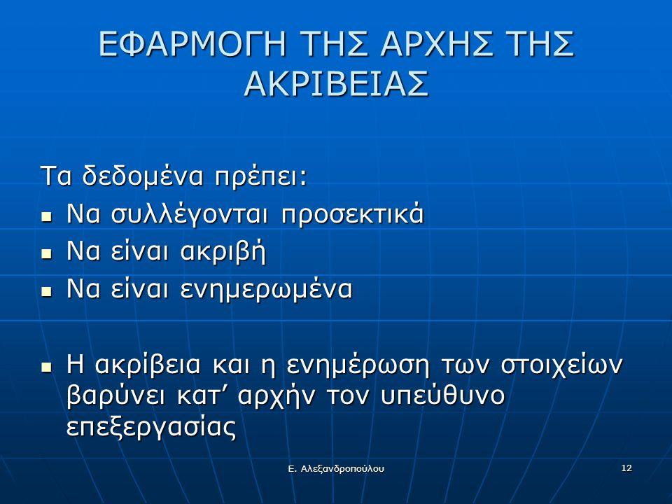Ε. Αλεξανδροπούλου 12 ΕΦΑΡΜΟΓΗ ΤΗΣ ΑΡΧΗΣ ΤΗΣ ΑΚΡΙΒΕΙΑΣ Τα δεδομένα πρέπει:  Να συλλέγονται προσεκτικά  Να είναι ακριβή  Να είναι ενημερωμένα  Η ακ