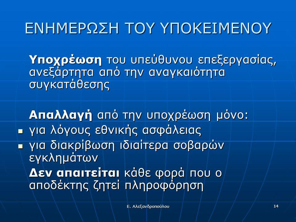 Ε. Αλεξανδροπούλου 14 ΕΝΗΜΕΡΩΣΗ ΤΟΥ ΥΠΟΚΕΙΜΕΝΟΥ Υποχρέωση του υπεύθυνου επεξεργασίας, ανεξάρτητα από την αναγκαιότητα συγκατάθεσης Απαλλαγή από την υπ