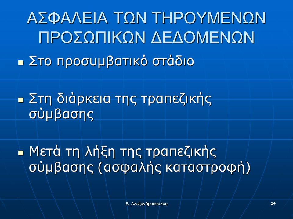 Ε. Αλεξανδροπούλου 24 ΑΣΦΑΛΕΙΑ ΤΩΝ ΤΗΡΟΥΜΕΝΩΝ ΠΡΟΣΩΠΙΚΩΝ ΔΕΔΟΜΕΝΩΝ  Στο προσυμβατικό στάδιο  Στη διάρκεια της τραπεζικής σύμβασης  Μετά τη λήξη της