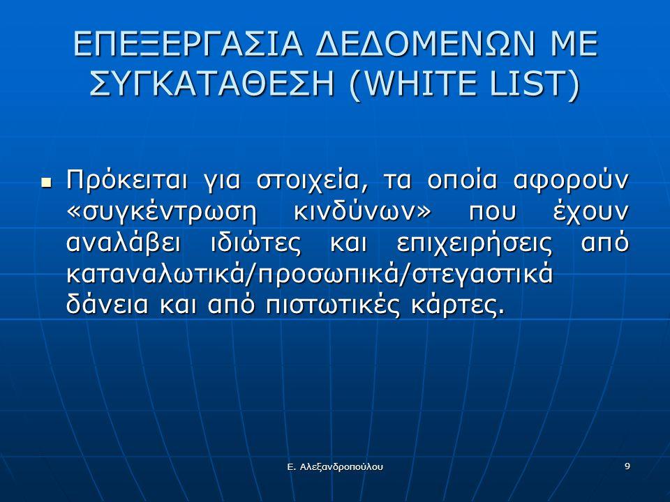 Ε. Αλεξανδροπούλου 9 ΕΠΕΞΕΡΓΑΣΙΑ ΔΕΔΟΜΕΝΩΝ ΜΕ ΣΥΓΚΑΤΑΘΕΣΗ (WHITE LIST)  Πρόκειται για στοιχεία, τα οποία αφορούν «συγκέντρωση κινδύνων» που έχουν ανα