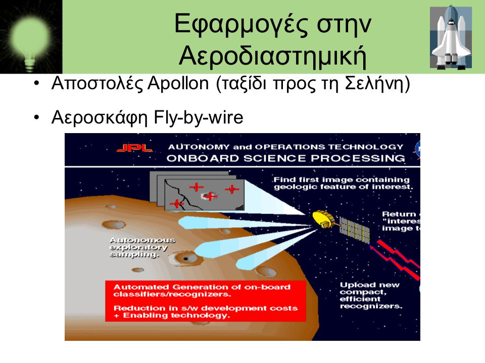 Εφαρμογές στην Αεροδιαστημική •Αποστολές Apollon (ταξίδι προς τη Σελήνη) •Αεροσκάφη Fly-by-wire
