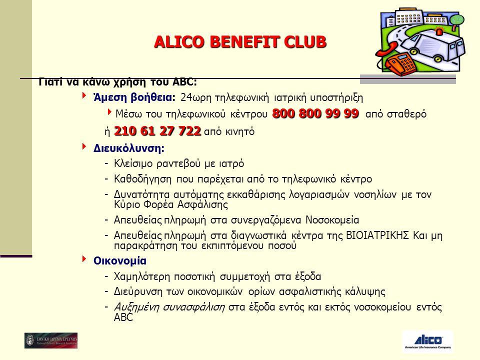 ALICO BENEFIT CLUB Γιατί να κάνω χρήση του ΑΒC:  Άμεση βοήθεια: 24ωρη τηλεφωνική ιατρική υποστήριξη 800 800 99 99  Μέσω του τηλεφωνικού κέντρου 800