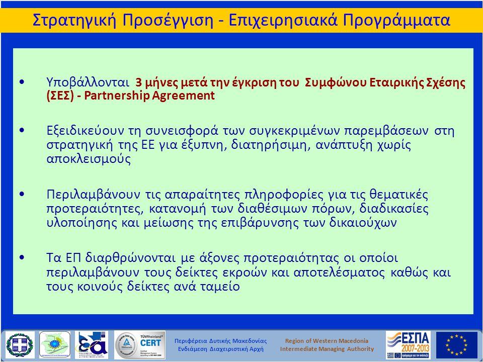 Περιφέρεια Δυτικής Μακεδονίας Ενδιάμεση Διαχειριστική Αρχή Region of Western Macedonia Intermediate Managing Authority Στρατηγική Προσέγγιση - Επιχειρ