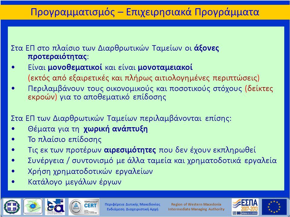 Περιφέρεια Δυτικής Μακεδονίας Ενδιάμεση Διαχειριστική Αρχή Region of Western Macedonia Intermediate Managing Authority Στα ΕΠ στο πλαίσιο των Διαρθρωτ