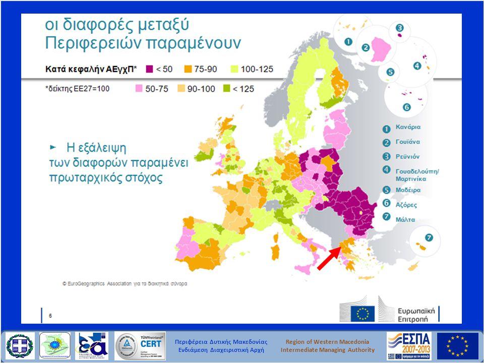 Περιφέρεια Δυτικής Μακεδονίας Ενδιάμεση Διαχειριστική Αρχή Region of Western Macedonia Intermediate Managing Authority • Περιεκτική επενδυτική στρατηγική, ευθυγραμμισμένη με τους στόχους της στρατηγικής «Ευρώπη 2020» • Συνέπεια με τα Εθνικά Προγράμματα Μεταρρυθμίσεων • Συντονισμός ταμείων πολιτικής συνοχής, αγροτικής ανάπτυξης, θάλασσας και αλιείας • Στόχοι και δείκτες για την αξιολόγηση της προόδου σε σχέση με τους στόχους της στρατηγικής «Ευρώπη 2020» • Αποτελεσματικότητα μέσω ενός πλαισίου απόδοσης • Αποδοτικότητα μέσω της ενίσχυσης της διοικητικής ικανότητας και του περιορισμού της γραφειοκρατίας Επιχειρησιακά Προγράμματα Σύμβαση Εταιρικής Σχέσης Κοινό Στρατηγικό Πλαίσιο Στρατηγική Προσέγγιση- Συνεκτική Χρήση Χρηματοδοτήσεων