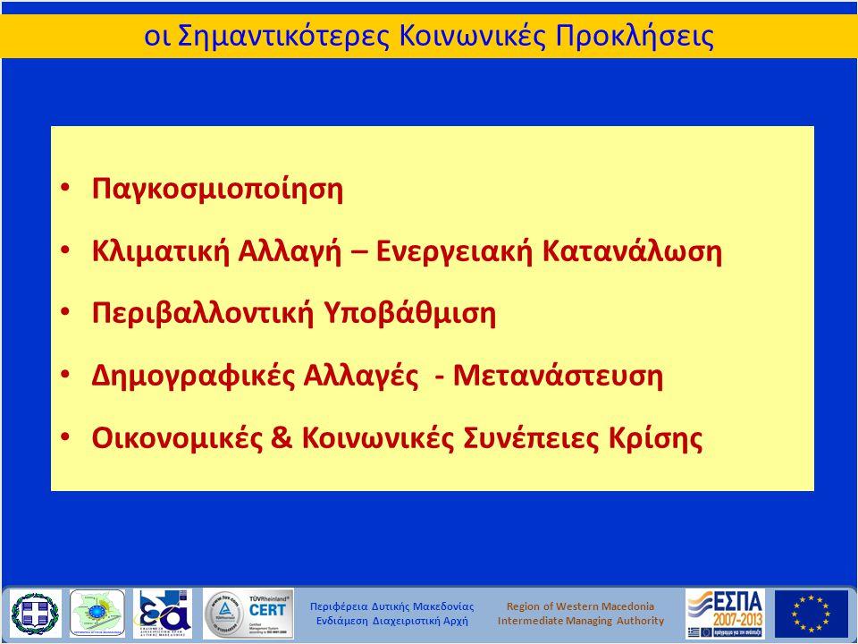 Περιφέρεια Δυτικής Μακεδονίας Ενδιάμεση Διαχειριστική Αρχή Region of Western Macedonia Intermediate Managing Authority οι Σημαντικότερες Κοινωνικές Προκλήσεις • Παγκοσμιοποίηση • Κλιματική Αλλαγή – Ενεργειακή Κατανάλωση • Περιβαλλοντική Υποβάθμιση • Δημογραφικές Αλλαγές - Μετανάστευση • Οικονομικές & Κοινωνικές Συνέπειες Κρίσης