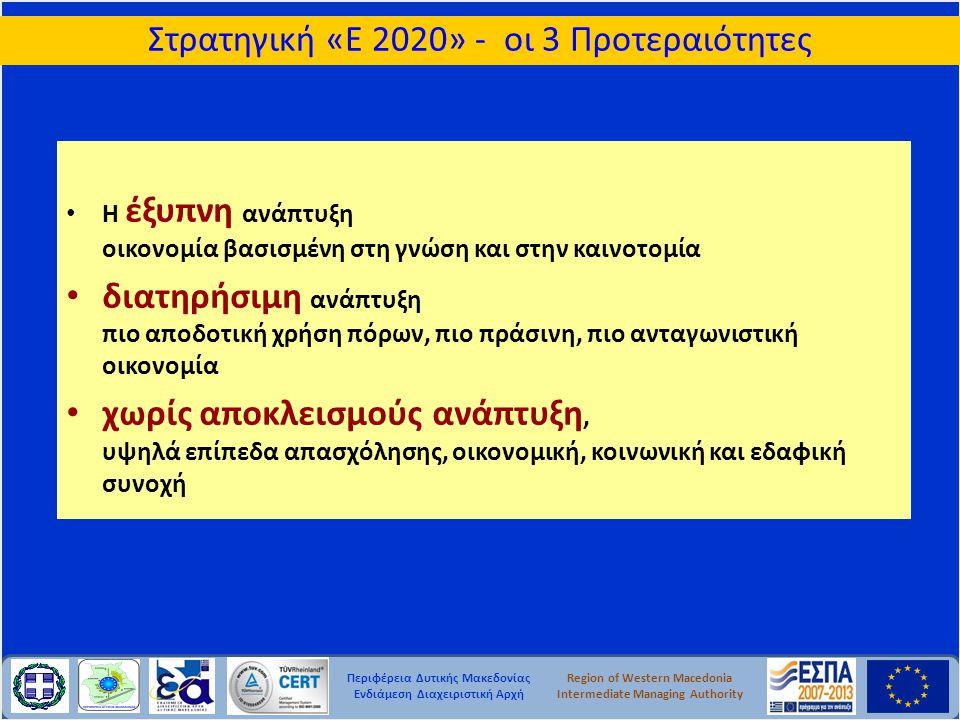Περιφέρεια Δυτικής Μακεδονίας Ενδιάμεση Διαχειριστική Αρχή Region of Western Macedonia Intermediate Managing Authority Στρατηγική Προσέγγιση - Επιχειρησιακά Προγράμματα •Υποβάλλονται 3 μήνες μετά την έγκριση του Συμφώνου Εταιρικής Σχέσης (ΣΕΣ) - Partnership Agreement •Εξειδικεύουν τη συνεισφορά των συγκεκριμένων παρεμβάσεων στη στρατηγική της ΕΕ για έξυπνη, διατηρήσιμη, ανάπτυξη χωρίς αποκλεισμούς •Περιλαμβάνουν τις απαραίτητες πληροφορίες για τις θεματικές προτεραιότητες, κατανομή των διαθέσιμων πόρων, διαδικασίες υλοποίησης και μείωσης της επιβάρυνσης των δικαιούχων •Τα ΕΠ διαρθρώνονται με άξονες προτεραιότητας οι οποίοι περιλαμβάνουν τους δείκτες εκροών και αποτελέσματος καθώς και τους κοινούς δείκτες ανά ταμείο