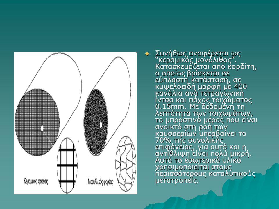 """ Συνήθως αναφέρεται ως """"κεραμικός μονόλιθος"""". Κατασκευάζεται από κορδίτη, ο οποίος βρίσκεται σε εύπλαστη κατάσταση, σε κυψελοειδή μορφή με 400 κανάλι"""