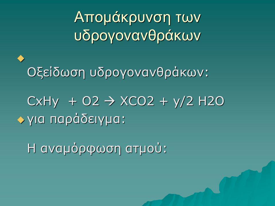 Απομάκρυνση των υδρογονανθράκων  Οξείδωση υδρογονανθράκων: CxHy + O2  XCO2 + y/2 H2O  για παράδειγμα: Η αναμόρφωση ατμού: