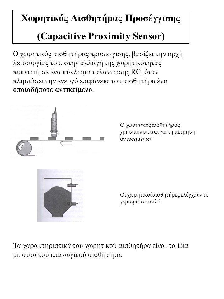 Χωρητικός Αισθητήρας Προσέγγισης (Capacitive Proximity Sensor) Ο χωρητικός αισθητήρας προσέγγισης, βασίζει την αρχή λειτουργίας του, στην αλλαγή της χ